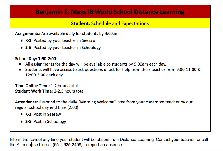 Benjamin E. Mays IB World School Distance Learning Schedule