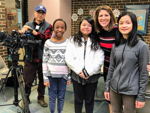 Frost Lake students with WCCO reporter