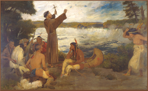 Father Hennepin discovering St. Anthony Falls
