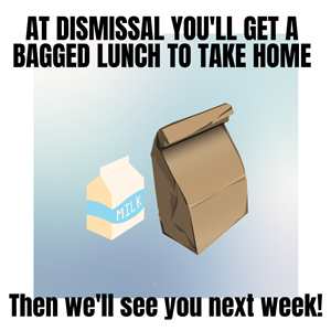 At dismissal you'll get a bagged lunch to take home. Then we'll see you next week!