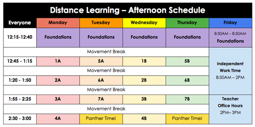 Afternoon distance learning schedule