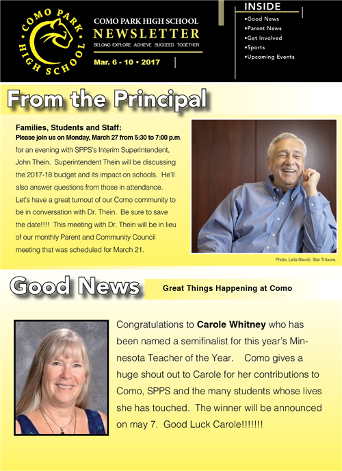 CPSHS Weekly Newsletter. March Week 2, 2017