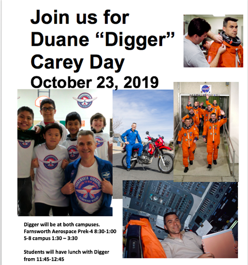 "Join us for Duane ""Digger"" Carey Day on October 23, 2019 from 1-30-3:30PM."