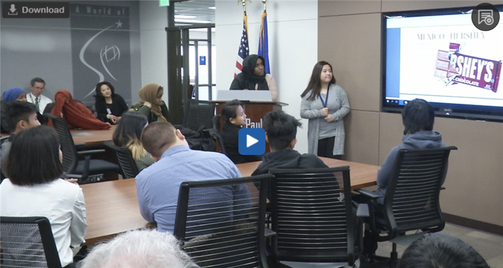 Academy of Finance Students Present Final Projects to District Leaders