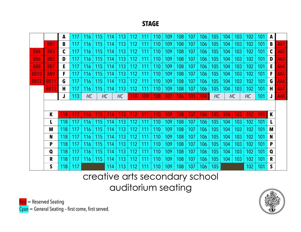 Creative Arts Seating Chart