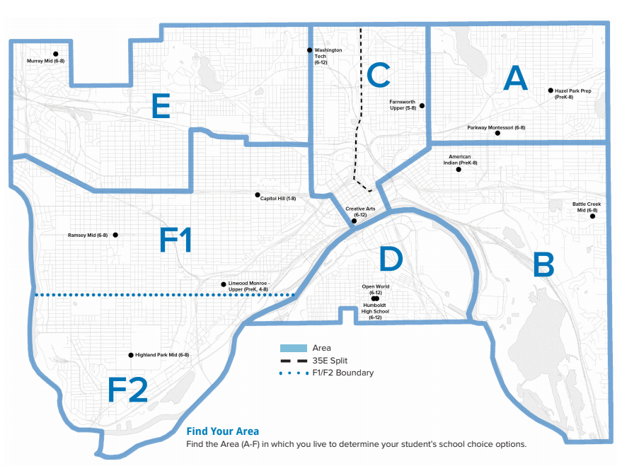 Map of Secondary sites in Saint Paul Public Schools.