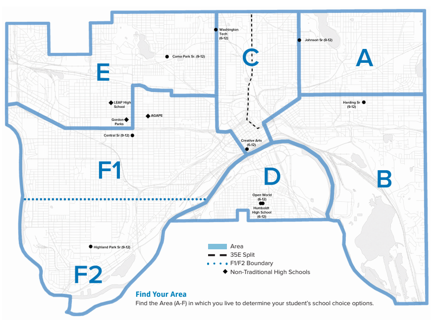 Map of High Schools by area in Saint Paul.