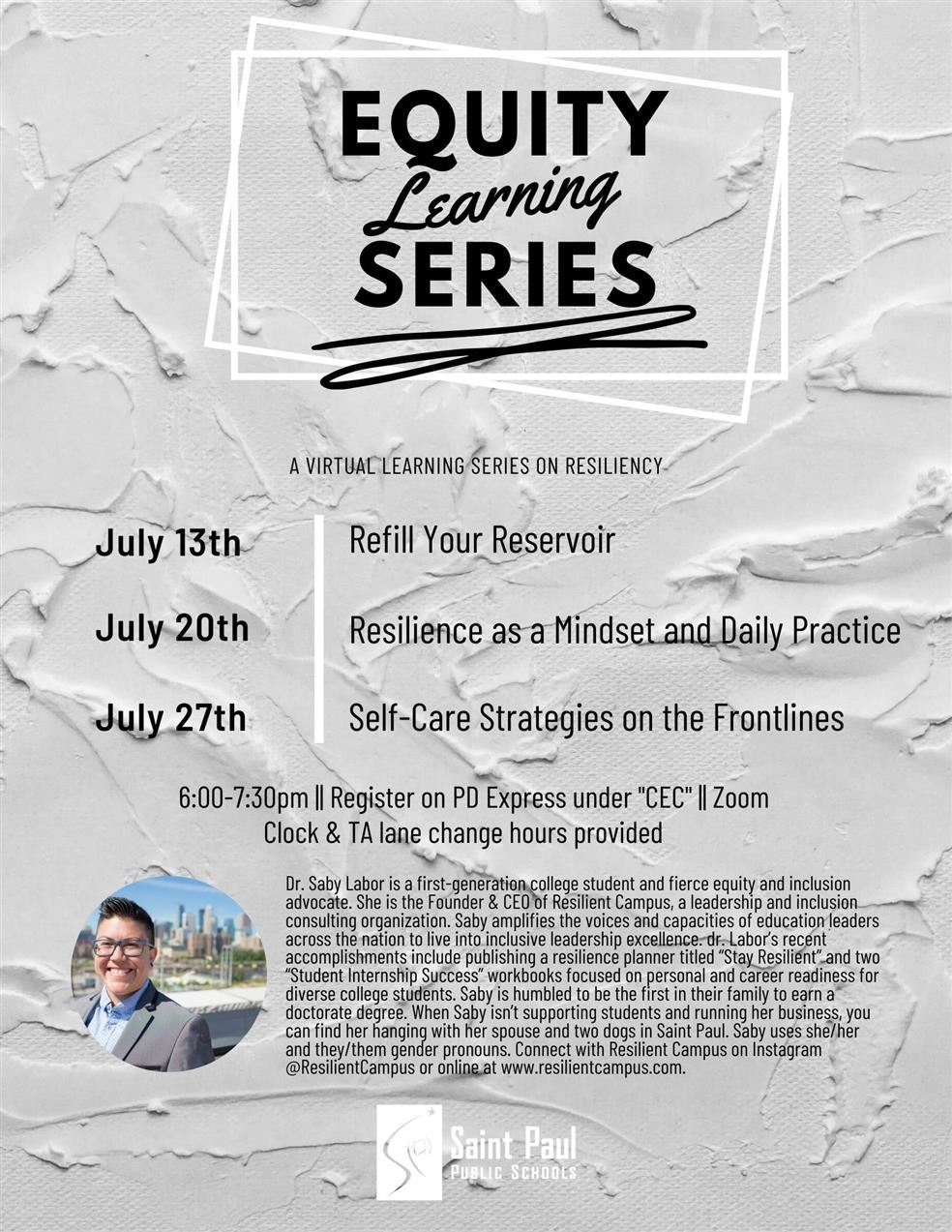 July Equity Learning Series: A Virtual Learning Series on Resiliency