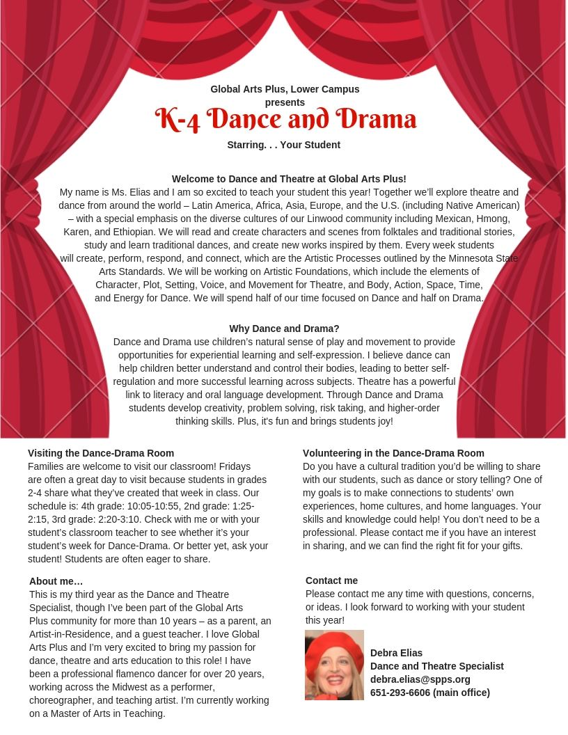 Welcome to Dance and Drama at Global Arts Plus Lower Campus