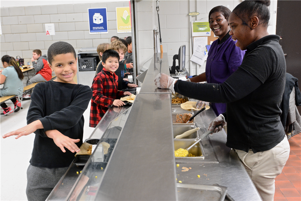 Students in lunch line at Chelsea Heights