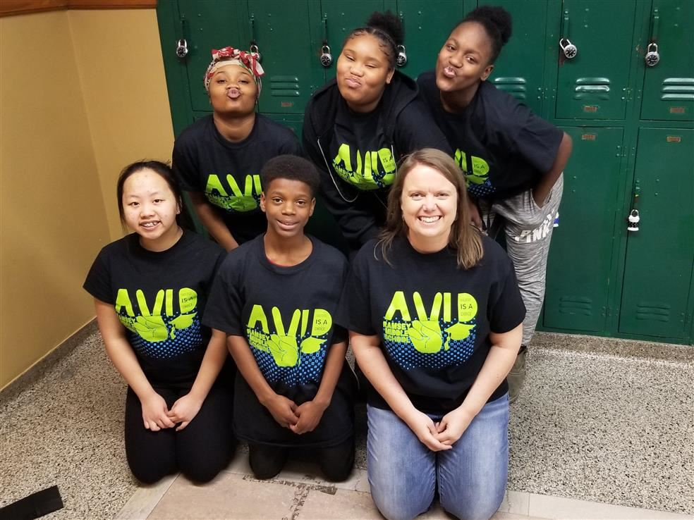 Ms. Hart is pictured with several AVID students from the 2018-19 school year.