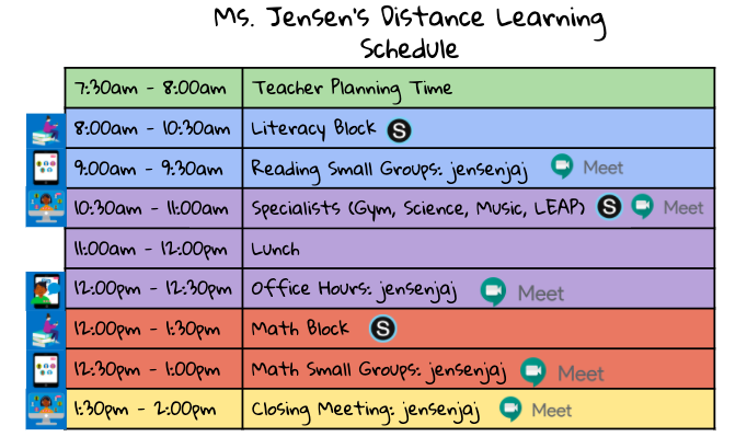 Ms. Jensen's Distance Learning Schedule