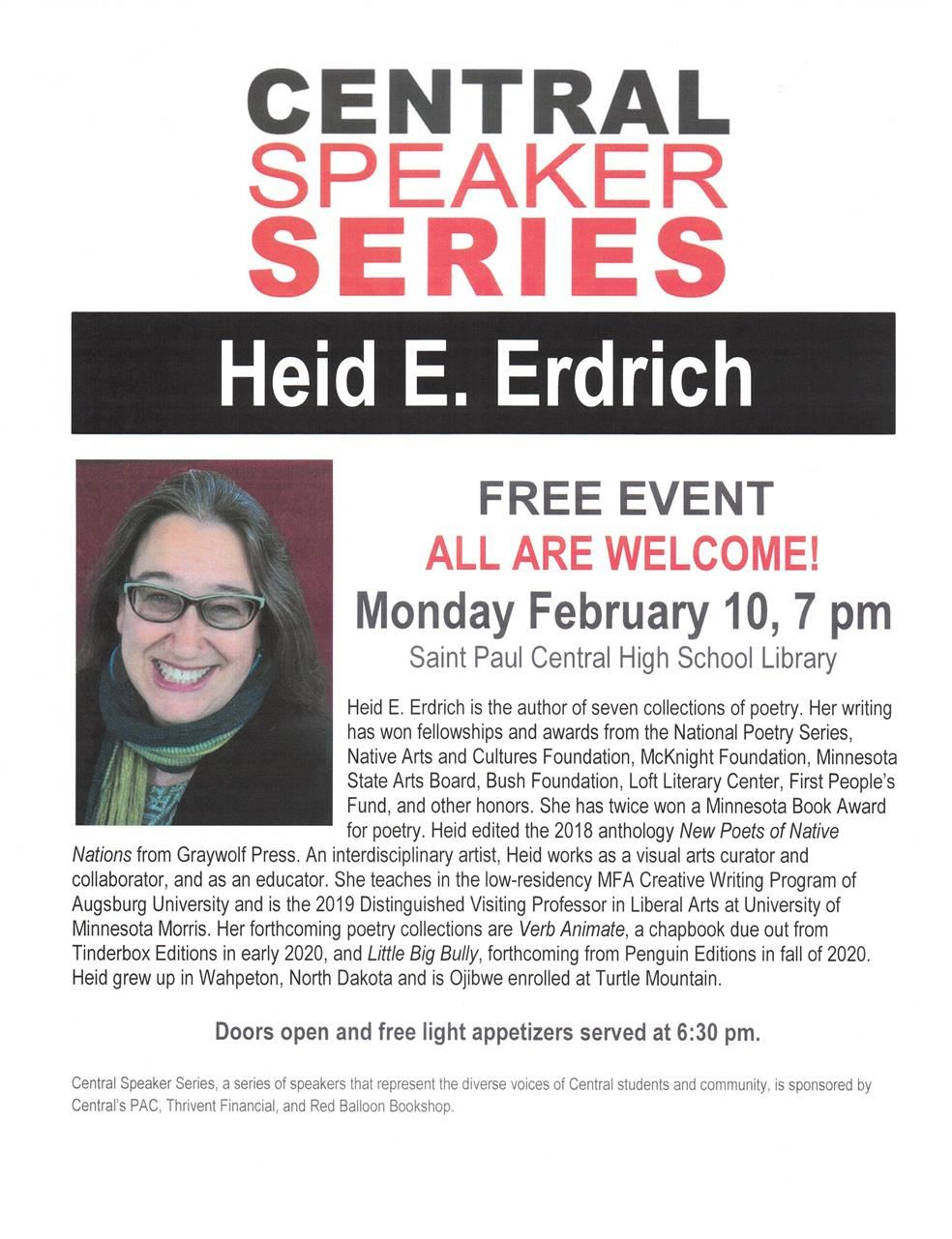 Central Speaker Series - Heid E. Erdrich