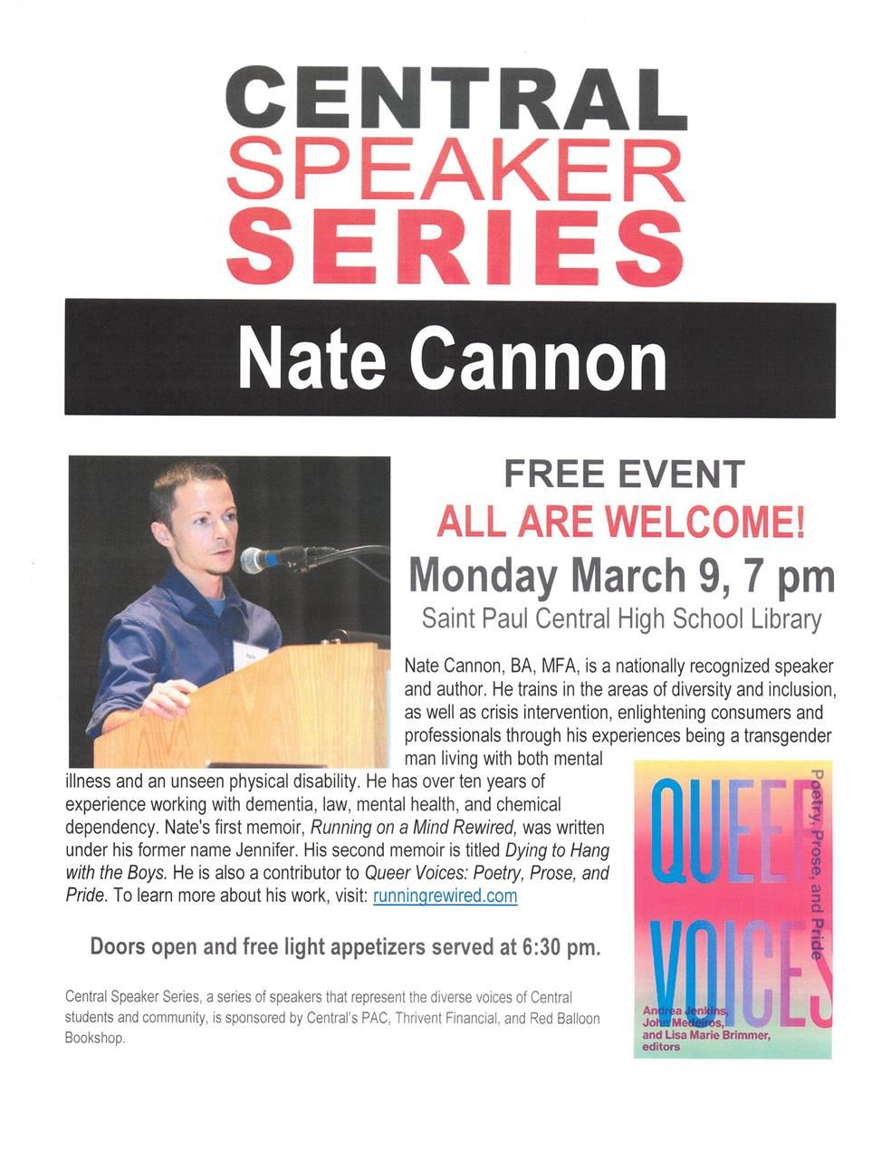 Central Speaker Series - Author talk - Nate Cannon