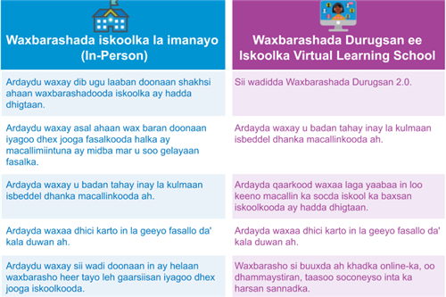 In person vs. Virtual Learning School table in Somali