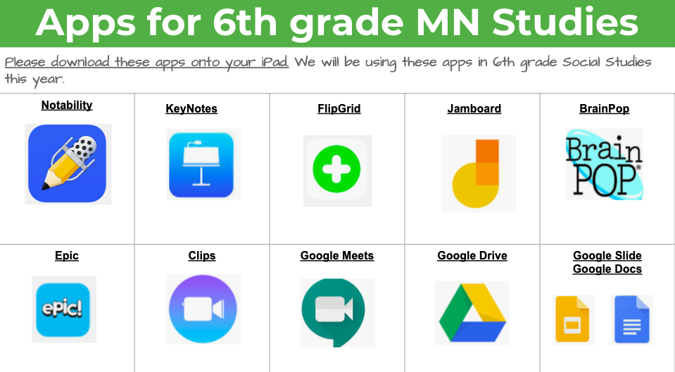 Apps for 6th grade MN Studies