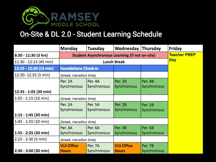 Distance Learning Schedule beginning February 22.