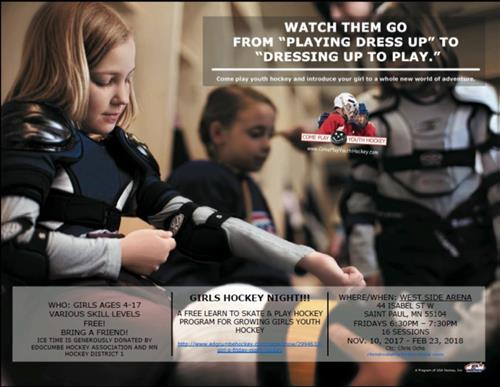 10/26/17 - Free Girls Learn to Skate & Play Ice Hockey Program