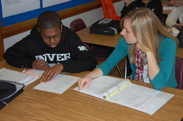 Volunteer tutoring student