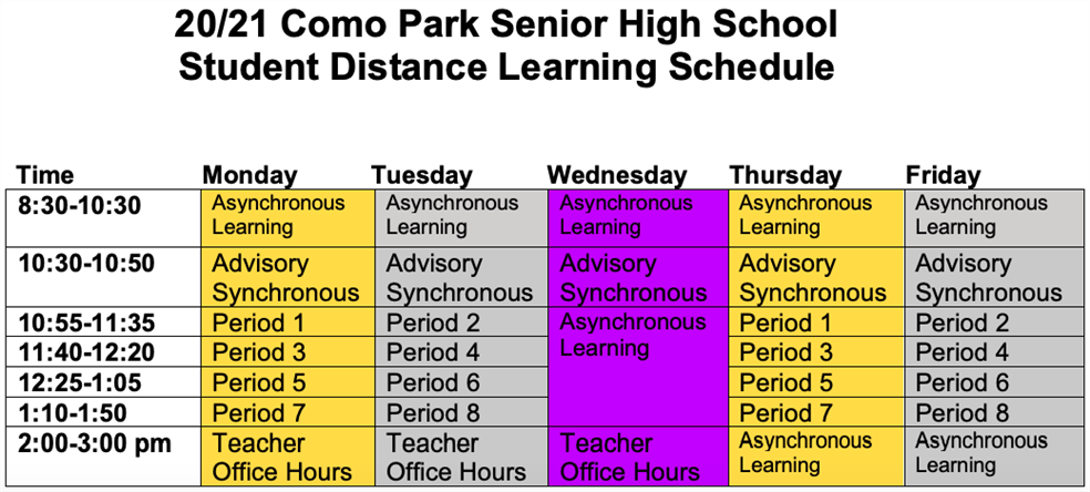 Student Distance Learning Schedule
