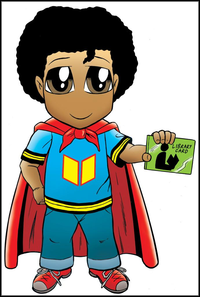 Super Reader shows off his library card