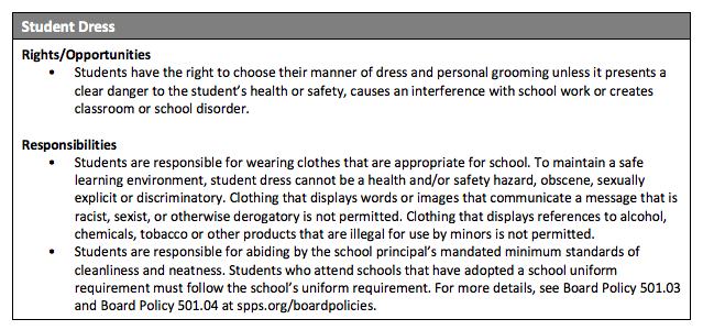 dress code from district website