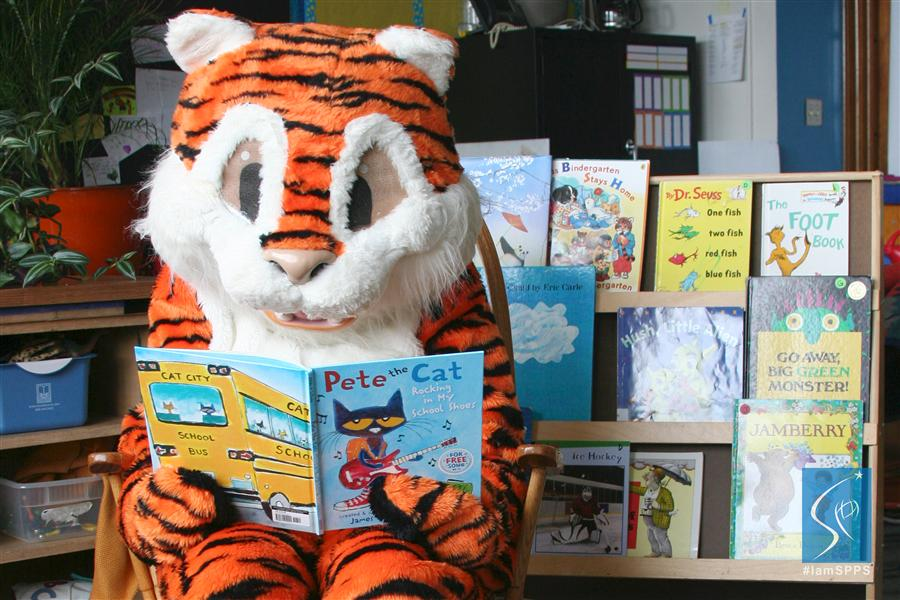 Tiger, Mascot, Barack and Michelle Obama Elementary