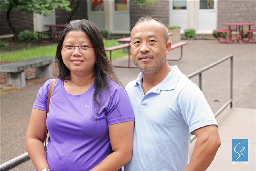 Karina and Kou, parents of a Johnson student