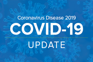 COVID update text over blue background