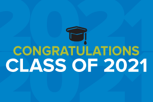 Blue rectangle that says congratulations class of 2021