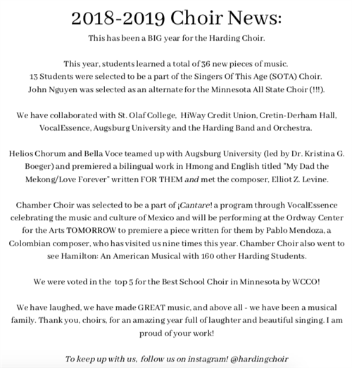 Harding University Calendar.Performing Arts Choir
