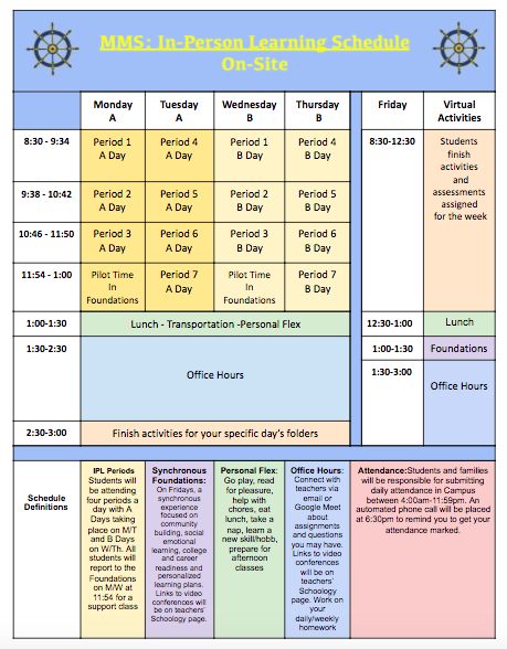 In-Person Learning Schedule On-Site