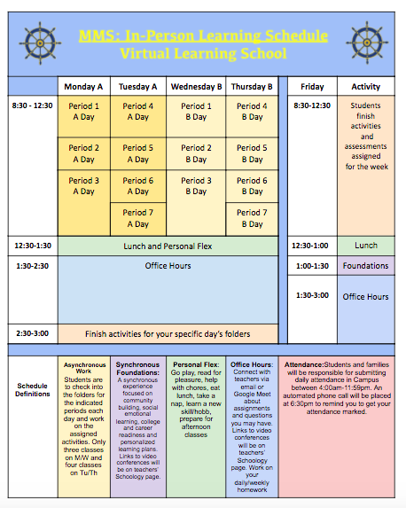 In-Person Learning Schedule/Virtual Learning School