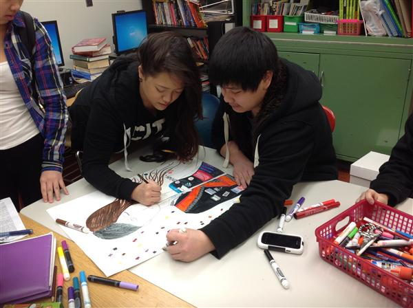 Lue got lots of help from Nancy & their Advisory on a very cool art project!
