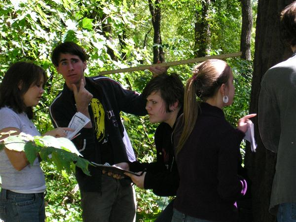 Open School's Advanced Placement Environmental Science class gets serious studying Crosby Park's floodplain forest.