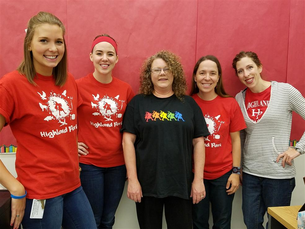 From left to right: Rachel Propson, Megan Ramos, Wendy Brilowski, Linda Jones, Deah Harambasic