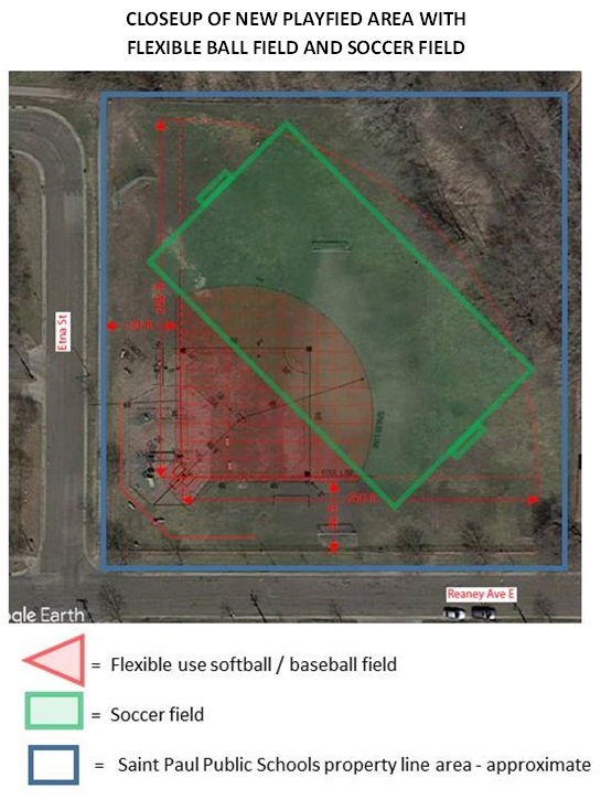 Parkway Ball Field with softball/baseball and soccer fields outlined