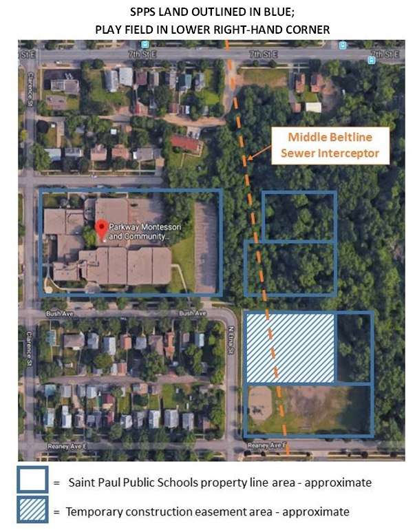 Parkway Ballfield Aerial View with SPPS property outlined