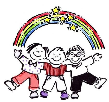 Cartoon children holding rainbow