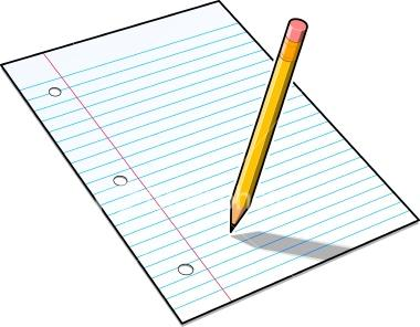 image of lined paper and a pencil