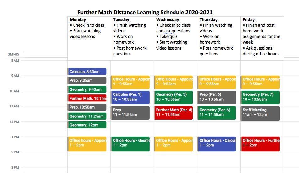 Further Math Schedule