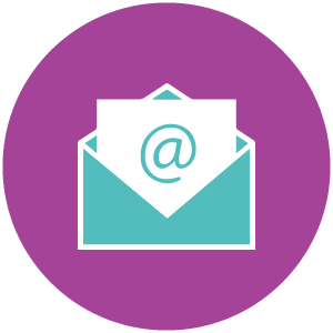 Blue envelope icon representing communication.
