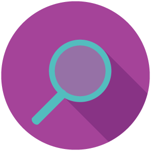 Blue magnifying glass in a purple circle.