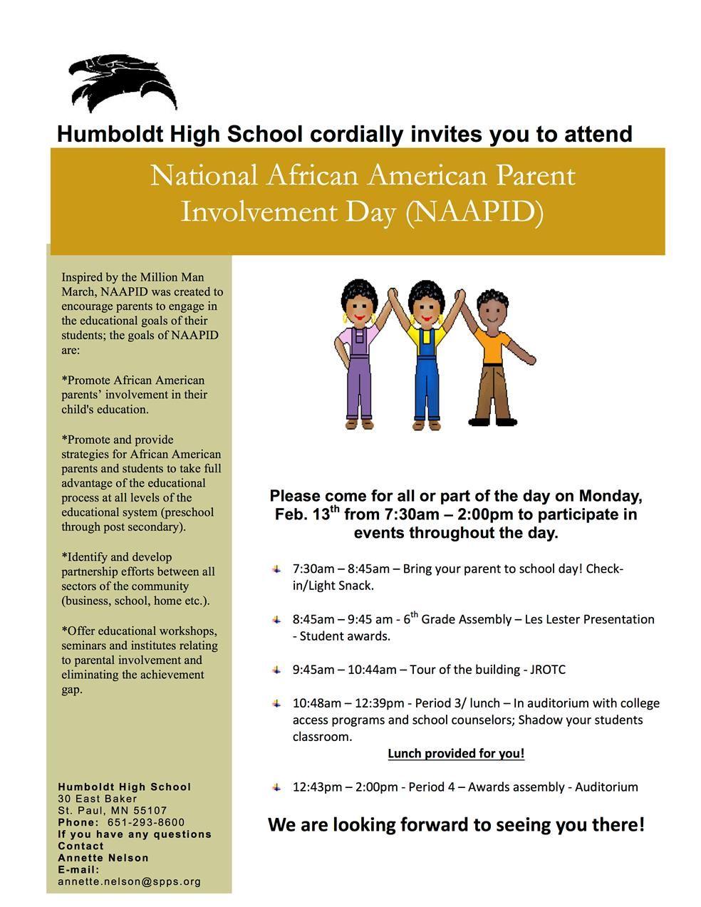 humboldt high school homepage national african american parent involvement day humboldt high school