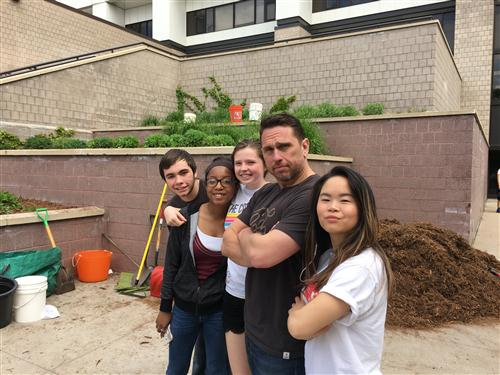 Environmental Science teacher Mr Modelli and his students helped get the tiered beds ready for summer