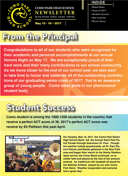 CPSHS Newsletter May Week 3, 2017