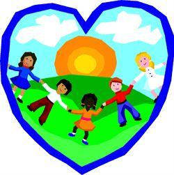 Heart with children holding hands