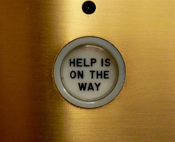 "image credit: ""Help is on the way, elevator, Chicago Tribune, Chicago, IL"" by Cory Doctorow on flickrcc.net, CC BY-SA"