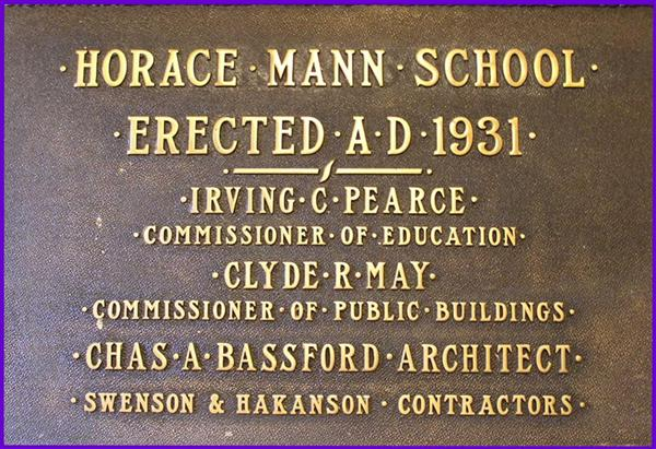 horace mann school plaque