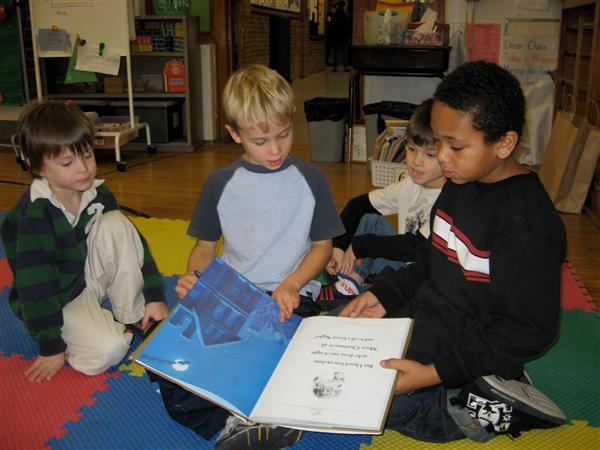 Second graders read Core Knowledge poems to Pre-Kindees